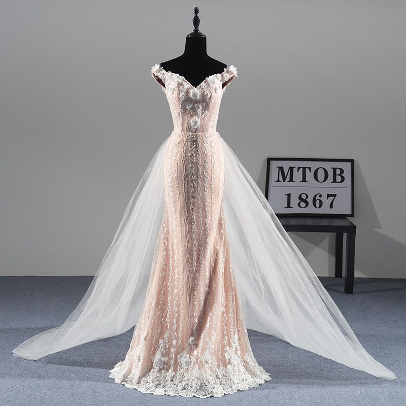 New Gorgeous Mermaid Lace Wedding Dresses Detachable train Sexy Luxury Elegant Bridal dresses vestido de noiva MTOB1811