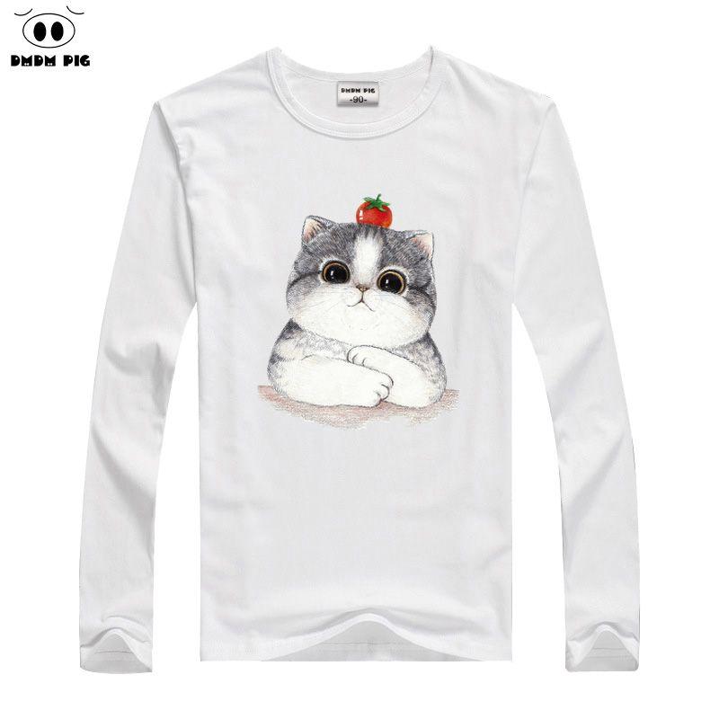 DMDM PIG 2019 Winter Boys T-Shirt Baby Girls Clothes Cartoon Cat Long Sleeve T Shirts For Children TShirts Avengers 2 3 4 Years
