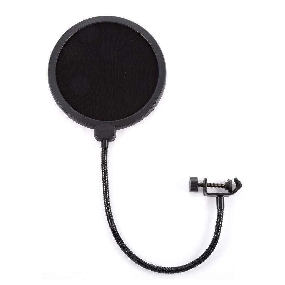Professional MPF-6 6-Inch Clamp On Microphone Pop Filter Bilayer Recording Spray Guard Double Mesh Screen Windscreen Studio