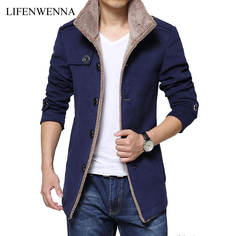 2017 Fashion Brand Men Winter Jacket Single Breasted Stand Collar Slim Fit Mens Pea Coat High Quality Casual Men Long Coat XXXXL