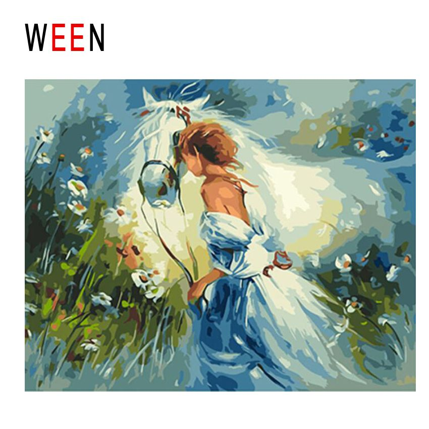 WEEN Girl With Horse Diy Painting By Numbers Abstract Grassland Oil Painting On Canvas Cuadros Decoracion Acrylic Home Decor