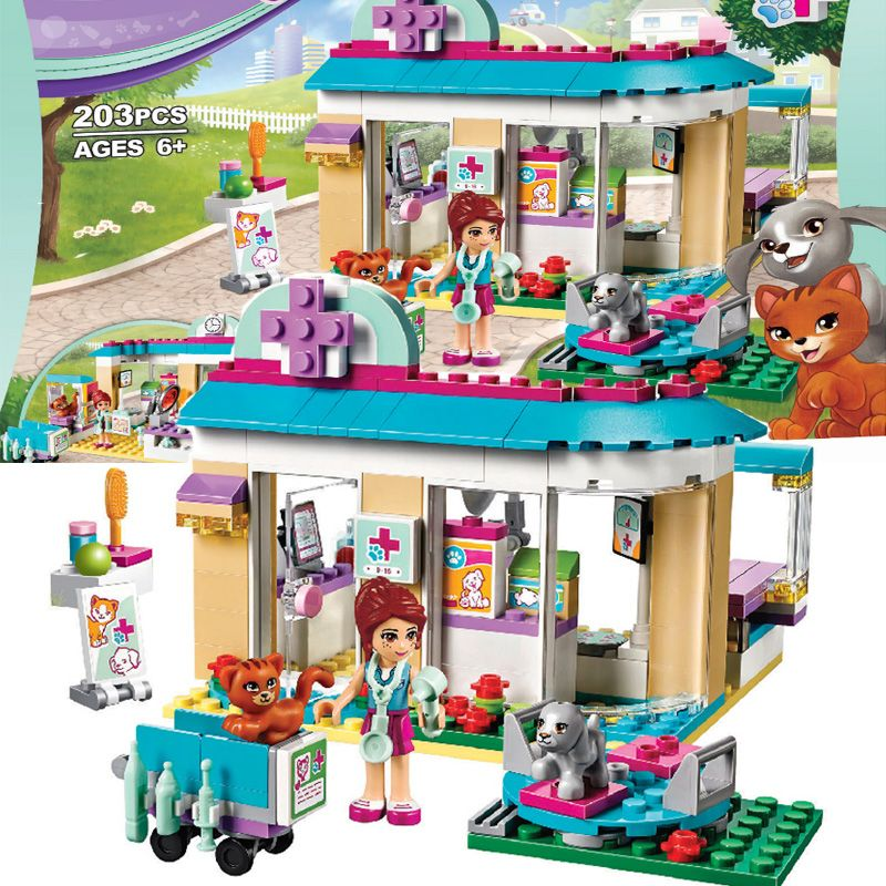 BELA 10537 Vet Clinic Pet Hospital Building <font><b>Blocks</b></font> Compatible with LegoINGly friends 41085 for girls