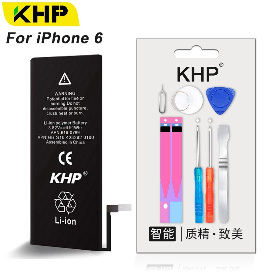KHP 2018 New Original Replacement Phone Battery For iPhone 6 6G iPhone6 Real Capacity 1810mAh 0 Cycle Tool Kit <font><b>Sticker</b></font> Batteries