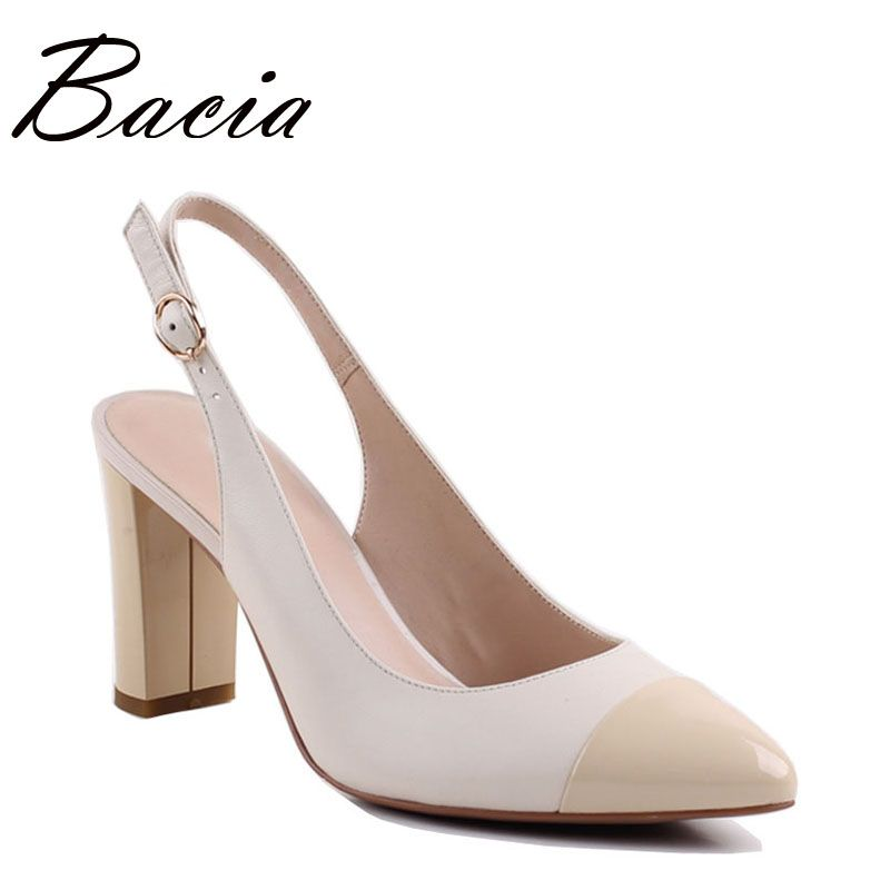 Bacia Sheep Skin Sandals 2017 New Thick Square <font><b>Pointed</b></font> Toe Heels Buckle Strap Women High Pumps Leather Shoes 35-40 Size SA004