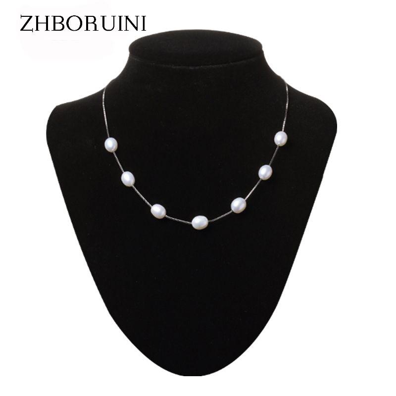 ZHBORUINI collier de perles bijoux en perles 925 bijoux en argent Sterling pour les femmes perle naturelle 8-9mm goutte d'eau babyshaleine cadeau