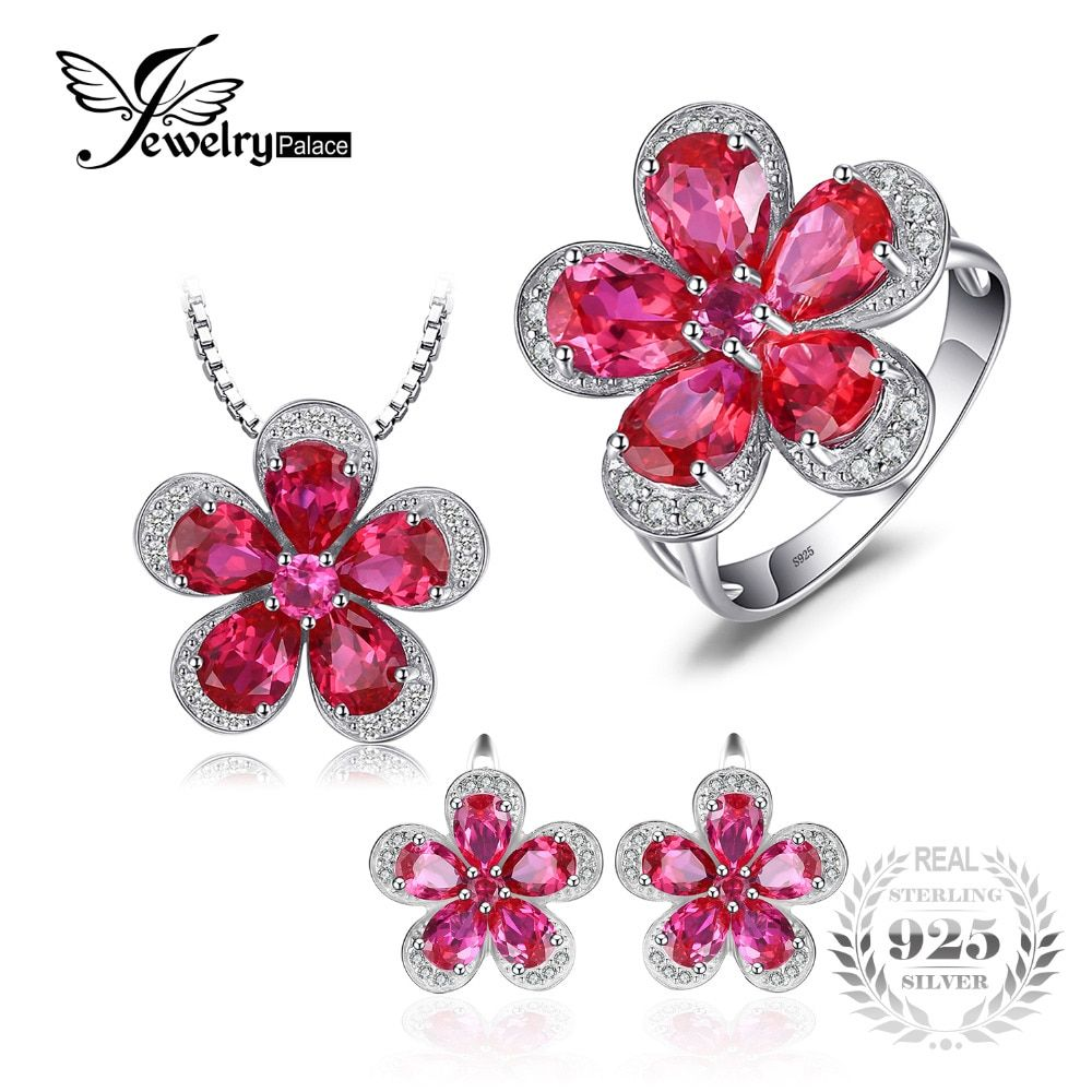 JewelryPalace Gleaming Created Ruby Flower Shape Ring Pendant Earring Jewelry Set 925 Sterling Silver Fine Jewelry for women