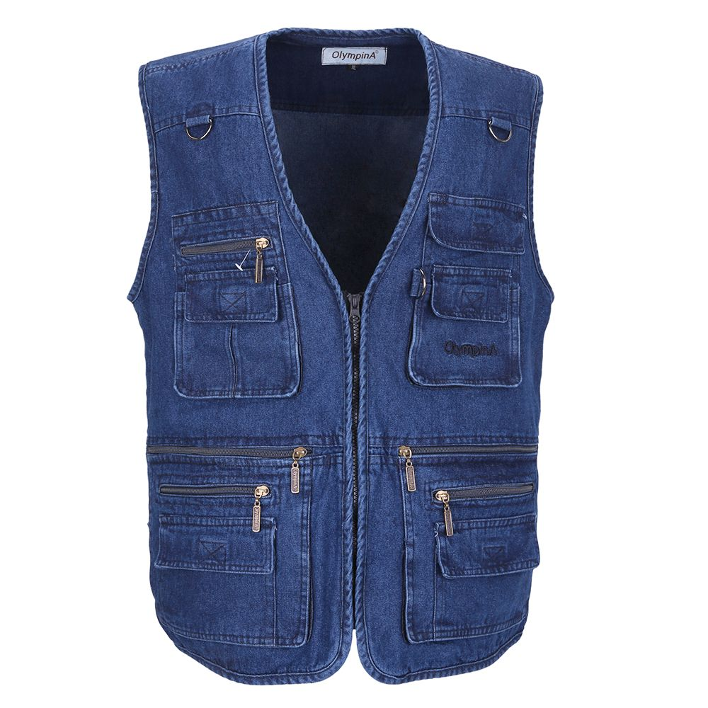 Denim Vest Men Cotton Sleeveless Jackets Blue Casual Fishing Vest with Many Pockets Plus Size 10XL Outdoors Waistcoat
