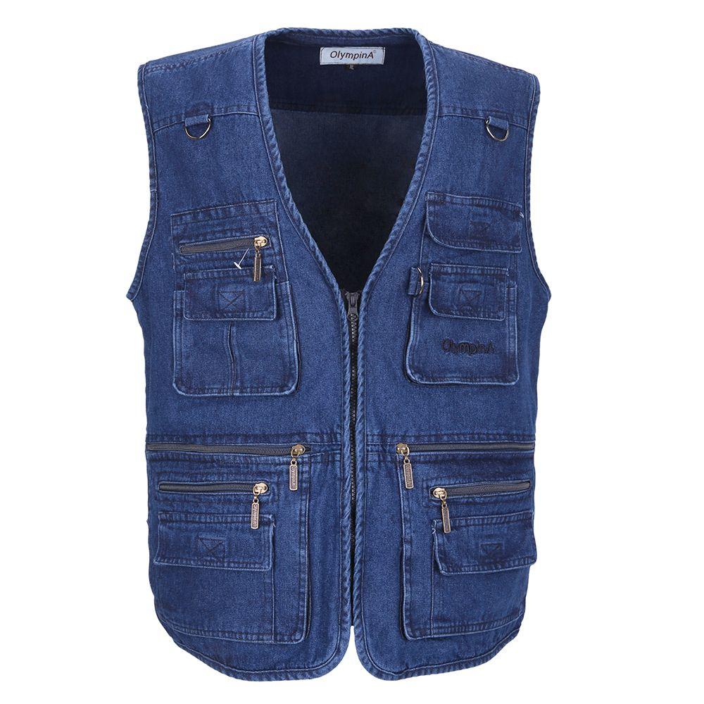Denim Vest Men Cotton Sleeveless Jackets Blue Casual Fishing Vest with Many Pockets Plus Size 10XL Outdoors Waistcoat