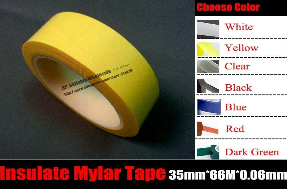 Color Choose, 1x (35mm*66M*0.06mm), Insulating Mylar Tape for Transformer Motor Coil Pack, High Temperature Withstand