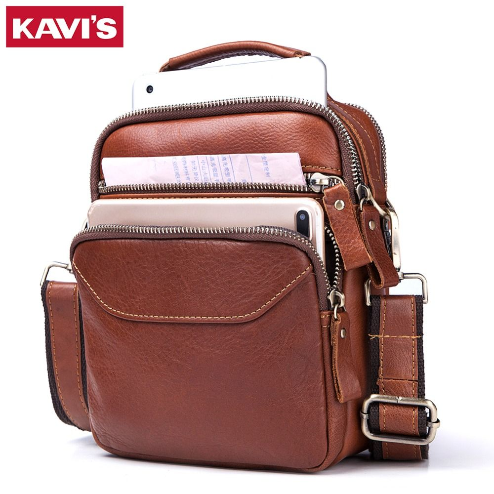 KAVIS Cow Genuine Leather Messenger Bag Men's Shoulder Bag Crossbody Handbag Chest Male Real Small Soft Fashion for Tote Clutch