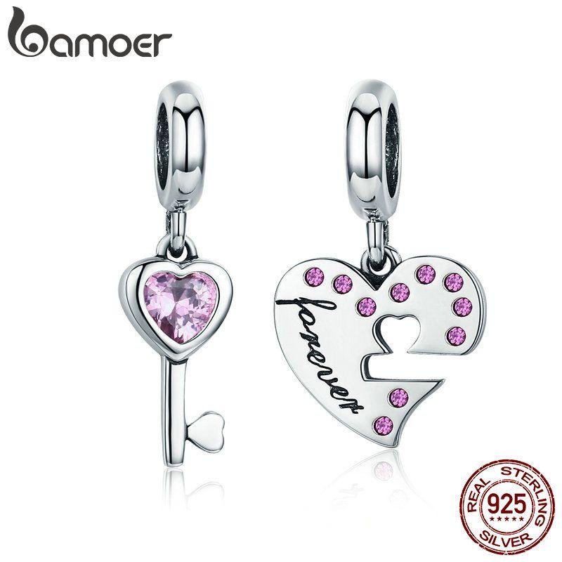BAMOER Romantische 925 Sterling Silber Lock Schlüssel von Herz Rosa CZ Charm Anhänger fit Charme Armband Schmuck Freundin Geschenk SCC638
