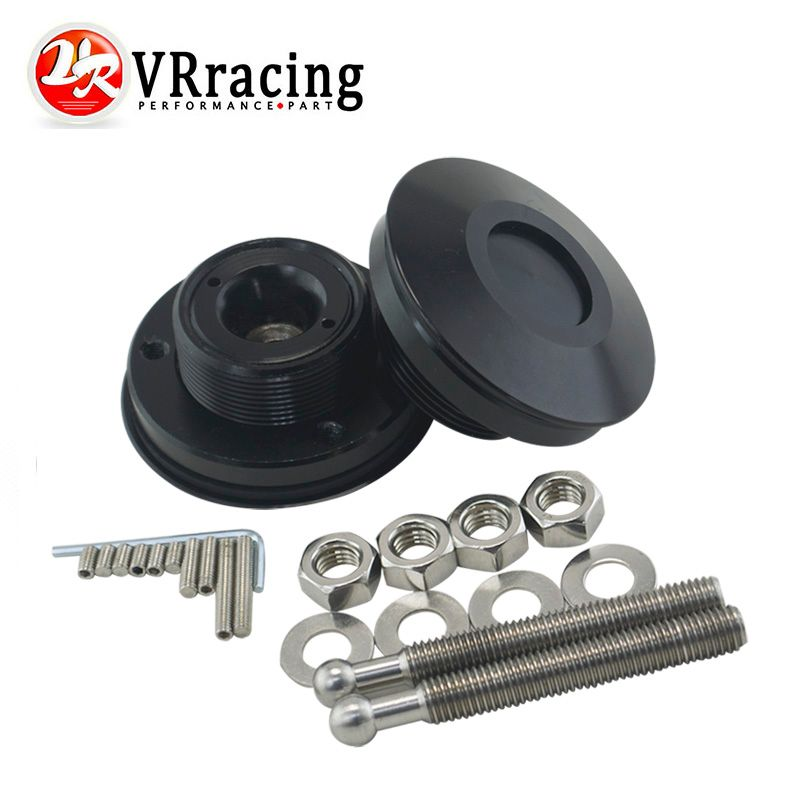 VR RACING - Universal Black Push Button Billet Hood Pins Lock Clip Kit Car Quick Latch New Engine Bonnets Red VR-HP31BK