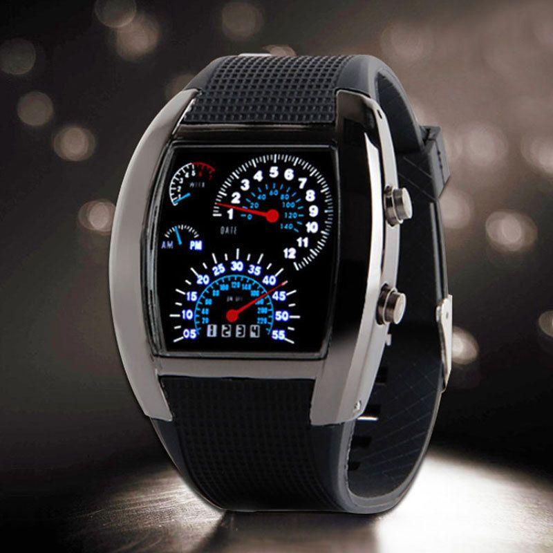 Bleu et blanc LED montre hommes noir caoutchouc compteur de vitesse numérique montres hommes Dot Matrix garçons hommes cadeau