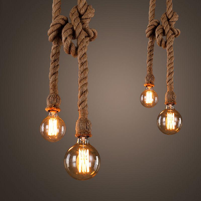Quadruple Vintage Rope Pendant Lights Lamp Personality Loft Lights E27 Edison Bulb Hemp Rope Hanglamp for Kitchen Cafe Bar Decor