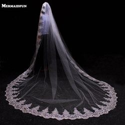 3 Meters White Ivory Cathedral Mantilla Wedding Veils Long Lace Edge Bridal Veil with Comb Wedding Accessories Bride