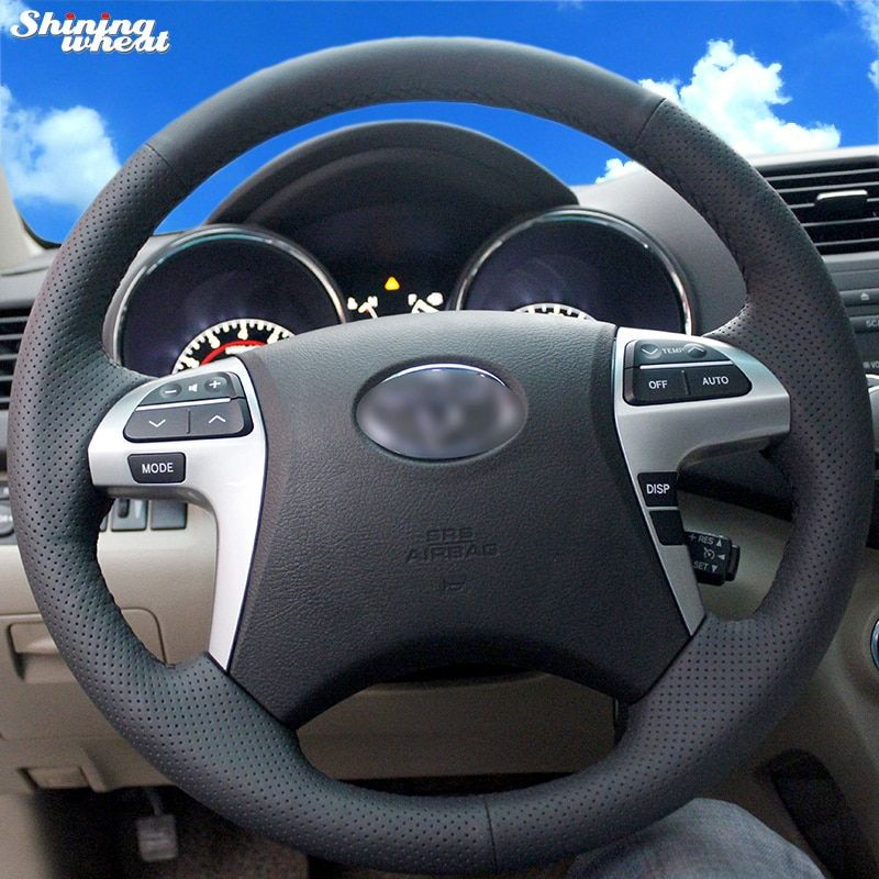Shining wheat Hand-stitched Black Leather Steering Wheel Cover for Toyota Highlander Toyota Camry 2007-2011
