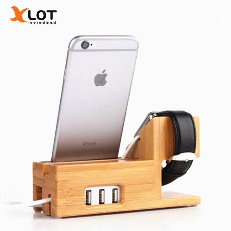 10XLOT 3 USB Port Téléphone Titulaire Bambou Deaktop D'accueil Chargeur support Stand Support pour iPhone iPad je Montre Charging Dock Station
