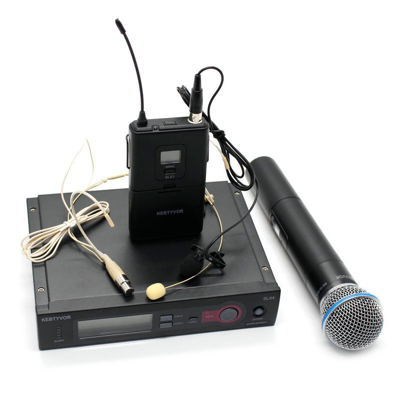 UHF PRO SLX24/SLX14 /BETA58 WIRELESS MICROPHONE SYSTEM + Handheld + Lapel + headset Mic for Stage