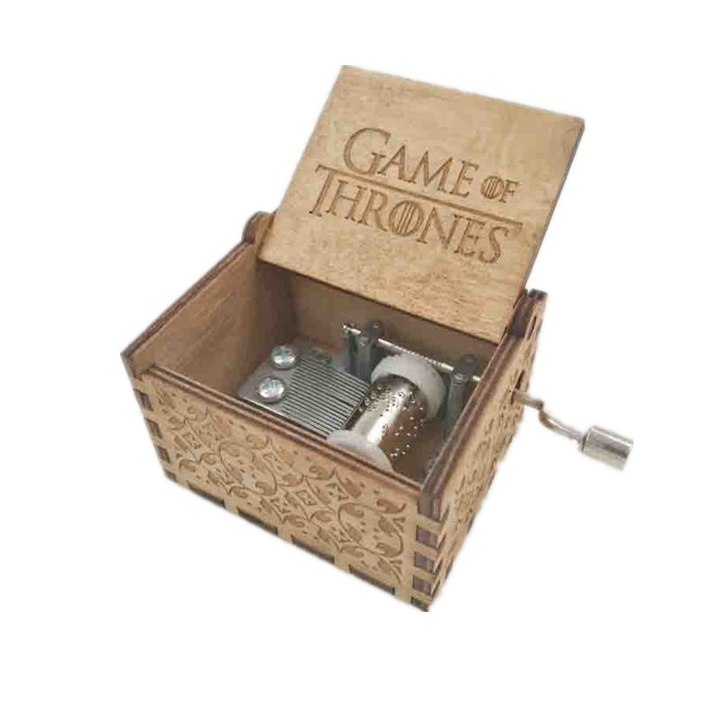 Antique carved wooden game of thrones music box, Christmas gift, new year gift, birthday gift