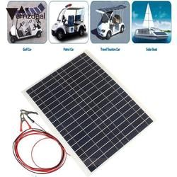 Amzdeal Efficiency 12v 20w Sun Power Bank Soft Flexible Solar Panel Cable Clip Tool Solar Cells Outdoor Phone Charger