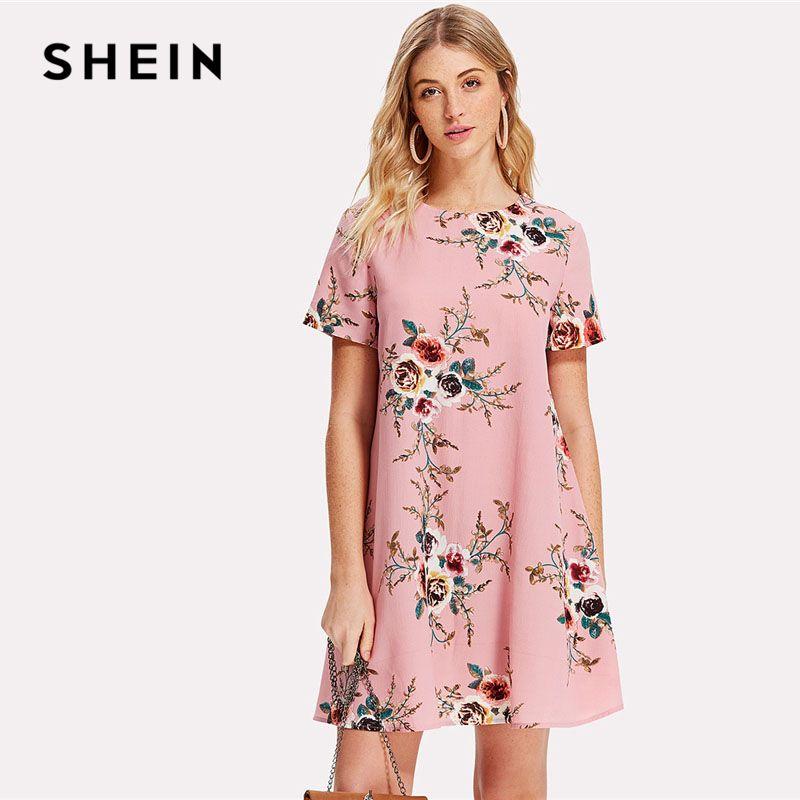 SHEIN Flower Print Swing Dress Women Pink Round Neck Short Sleeve Casual Short Dress 2018 Summer Going Out Shift Dress