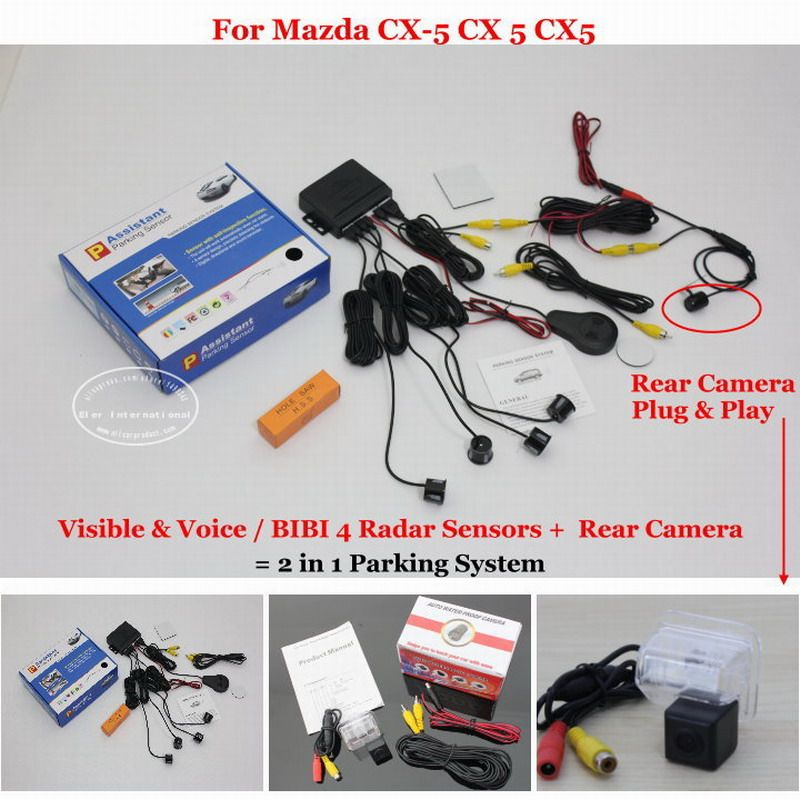 Liislee For Mazda CX-5 CX 5 CX5 - Car Parking Sensors + Rear View Camera = 2 in 1 Visual / BIBI Alarm Parking System