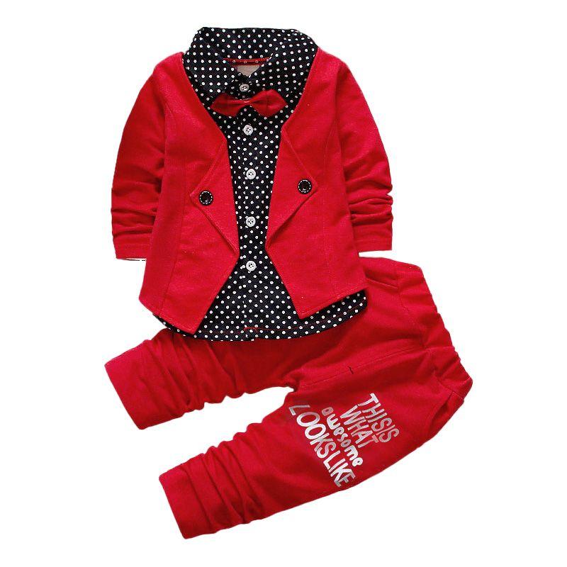 Los niños Del Vestido de Boda 2 unids Sets Gentlman Bowtie de Manga Larga Abrigo Tops + Pantalones Rojos Niños Set Polka Dot Ropa de Chicos Regalo de Cumpleaños trajes