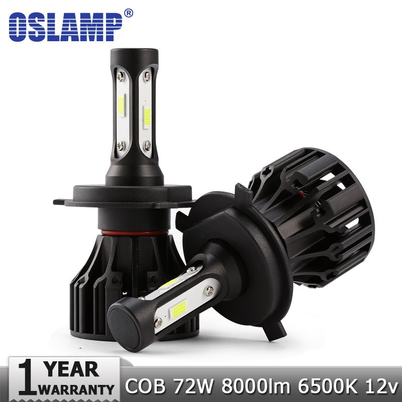 Oslamp 72W COB Chips H4 H7 LED Car Headlight Bulbs H11 H1 H3 9005 9006 Hi-Lo <font><b>Beam</b></font> 8000lm 6500K Auto Headlamp Fog Light DC12v 24v