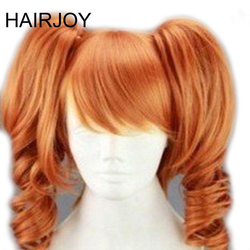 Hairjoy 45 cm longitud media naranja Cosplay peluca calor del partido del traje Pelucas sintéticas 2 clip en ponytail 3 colores