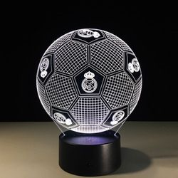 Football Lampara 7 Couleurs Football 3D LED Night Lights USB Football Lampe de Table Décoration Chambre Sommeil Veilleuse Lampe à Lave