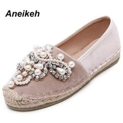 Aneikeh 2018 Printemps Automne Femmes Mocassins Bout Rond Espadrilles Perle Confortable Chanvre Fond Femmes Chaussures Slip On Zapato Mujer