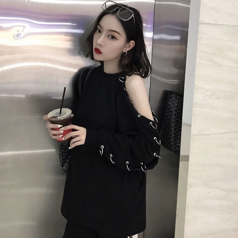 Korean Harajuku Women Long Sleeve T Shirt 2018 Spring BF Chic Style Black Top Off Shoulder With Hole Ring Sexy Casual T-Shirt