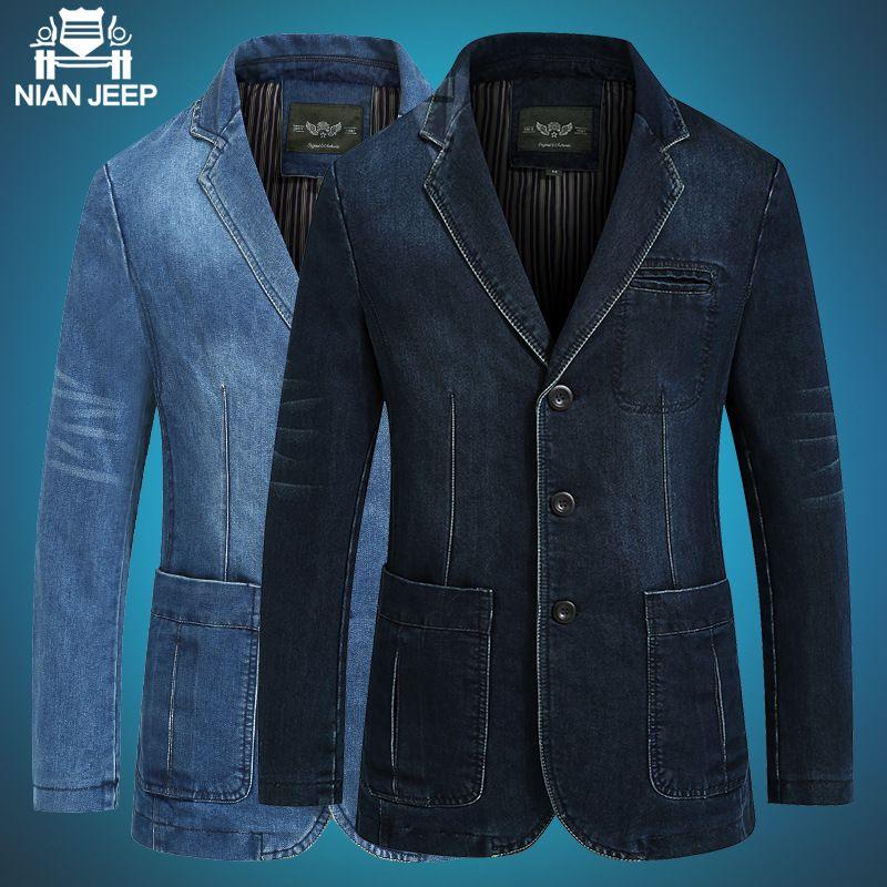 NIANJEEP Для мужчин Denim Blazer бренд Для мужчин; джинсовый костюм Masculino Повседневная Верхняя одежда осень-зима свободные джинсовый костюм верхняя о...