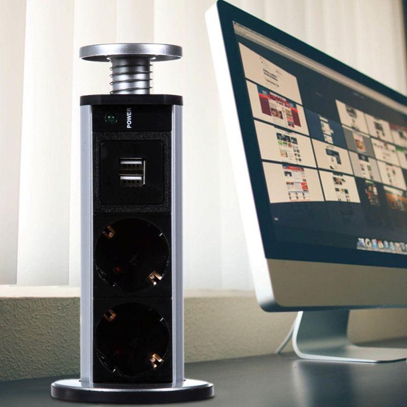 220V 16A PULL POP UP Electrical 3 Plug Sockets 2 USB Outlet Power Socket Kitchen Desk Socket for Countertops Worktop EU Plug