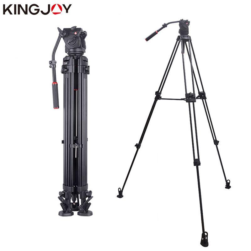KINGJOY Official VT-3500+VT-3530 Professional Video Camera Tripod Stand Holder Stable Fluid Damping Tripod Kit For All Models