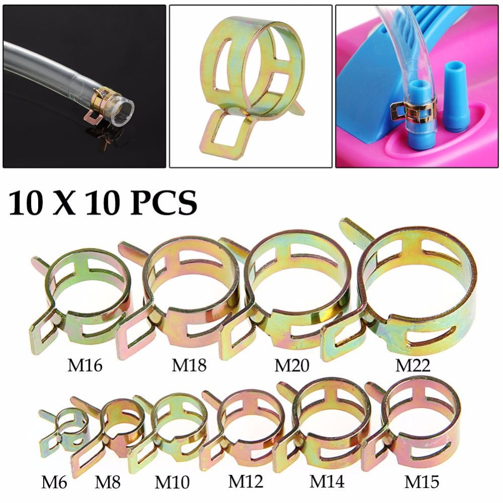 New 100Pcs 6-22mm Spring Clip Fuel Line Hose Water Pipe Air Tube Clamps Fastener G08 Drop ship