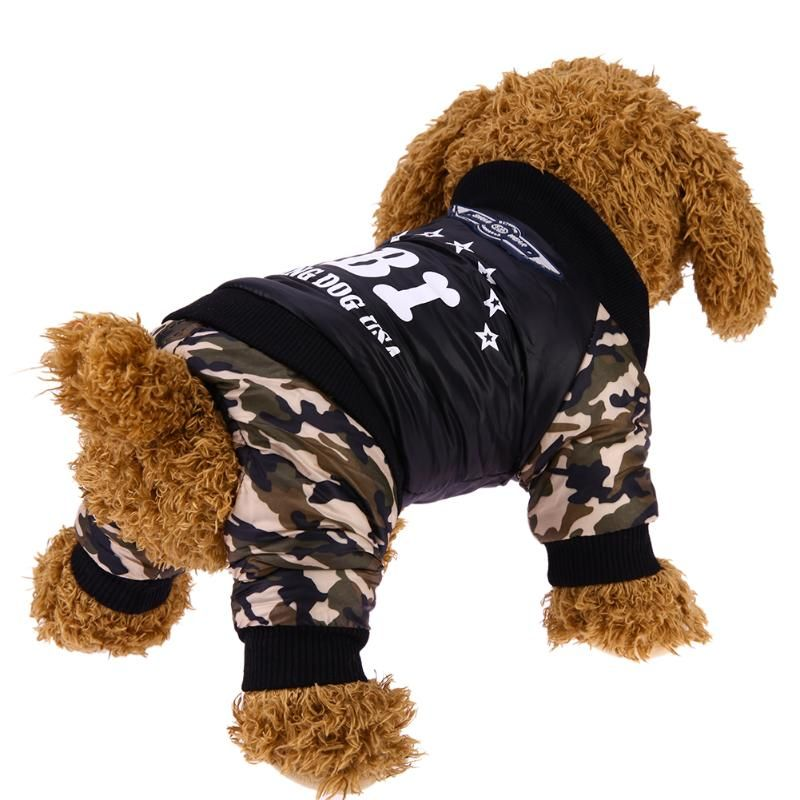 Dog Clothes Costume Fashion Bright Camouflage Dog Clothes Winter Warm Waterproof 4 Legs FBI Printing Coat Jacket Dog Clothing