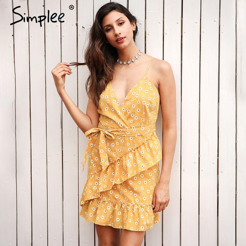 Simplee Sleeveless v neck ruffles summer dress women Backless sashes print mini dress 2017 fashion sexy party dress robe <font><b>femme</b></font>