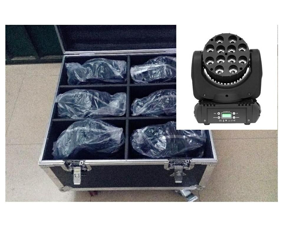 6 pz/lotto Con Flight Case 150 W LED Fascio Moving Head Light dj attrezzature 12x12 W RGBW (CMY) Quad