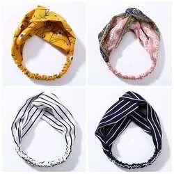 Mode Rayé Fleur Noeud Bandeau Femmes Turban Élastique Cheveux Bandes Head Wrap Cheveux Accessoires pour les Filles Lady Hairband