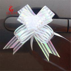 10 pcs Haute Qualité Organza Pull Ruban De Fleur D'arc Gift Wrap Boîte De Bonbons Accessoires DIY De Voiture De Mariage décor Fournitures Fleur rubans