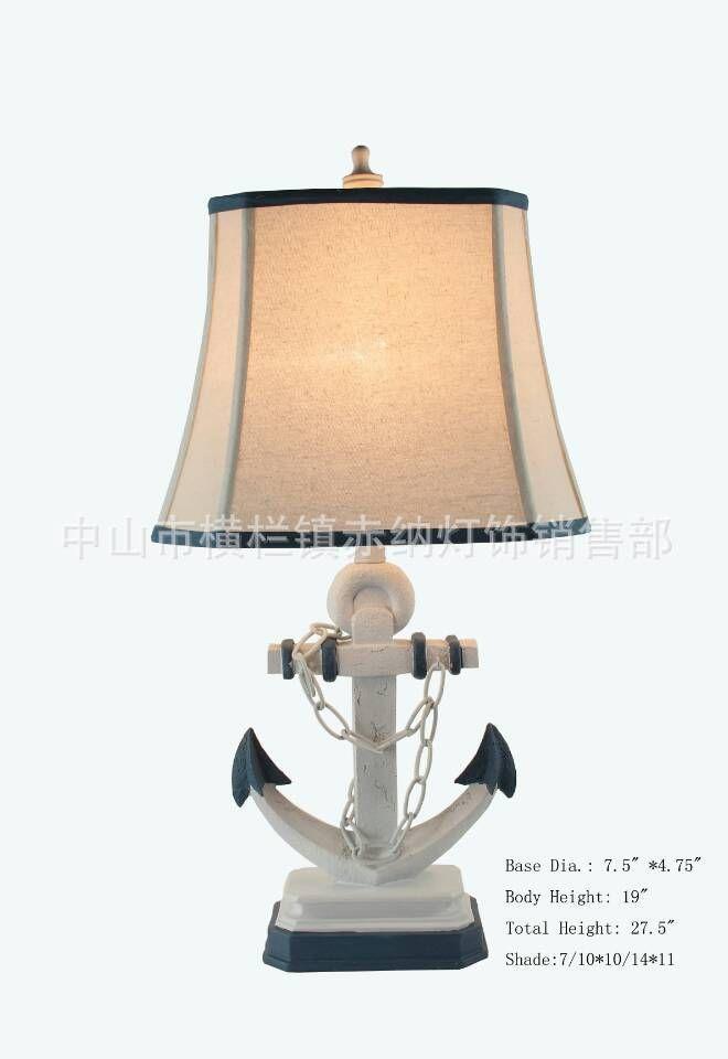 TUDA38X58cm Freies Verschiffen Kreative Anchor Förmigen Tischlampe Mediterranen Stil Tischlampe Tuch Lampenschirm Tischlampe Wohnkultur