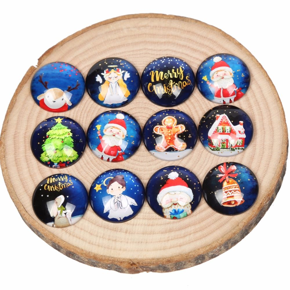 onwear christmas photo glsas cabochon 12mm 20mm 25mm round dome mix santa claus tree deer cameo jewelry findings