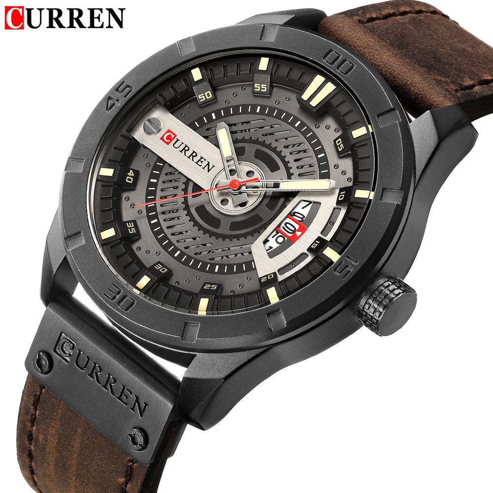 2018 Marque De Luxe CURREN Hommes Sport Militaire Montres Hommes de Quartz Date Horloge Homme En Cuir Décontractée Montre-Bracelet Relogio Masculino