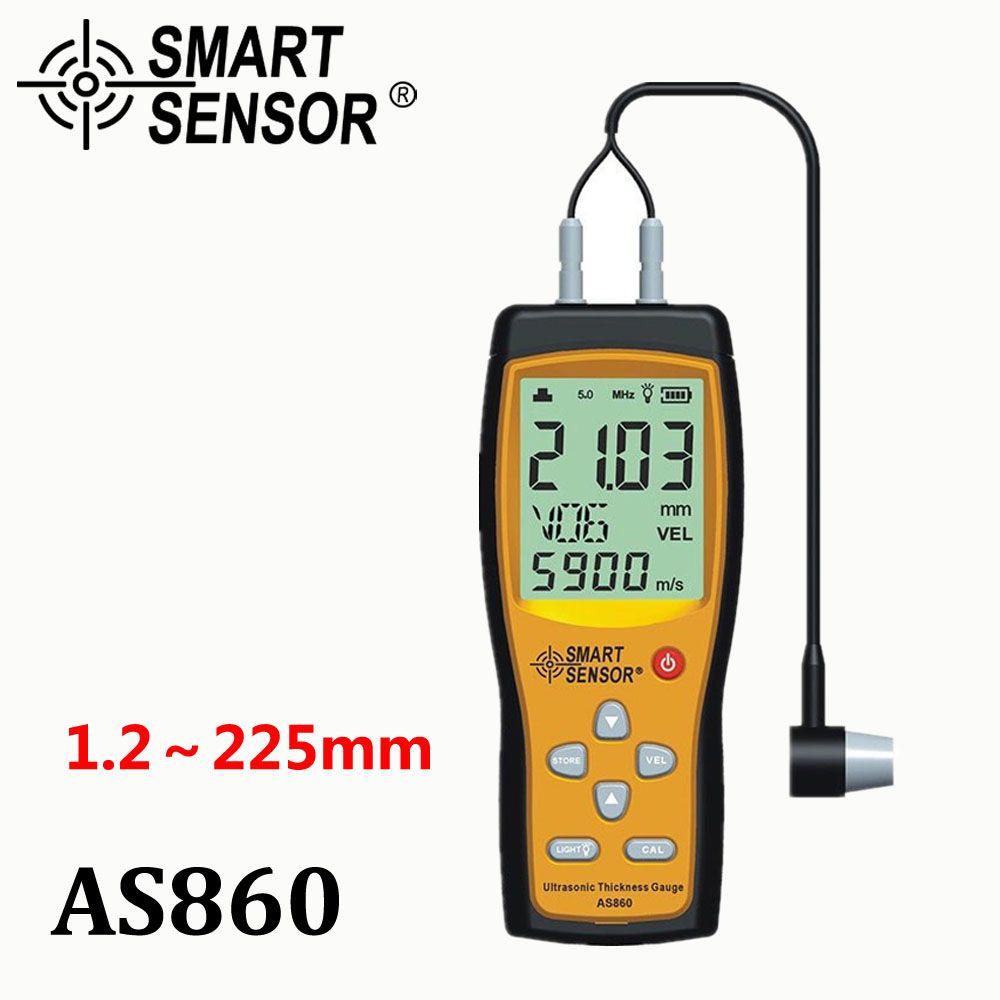 Ultrasonic thickness gauge Digital sheet metal Measuring range: 1.0 to 300mm (steel) Sound Velocity Meter Smart Sensor AS860
