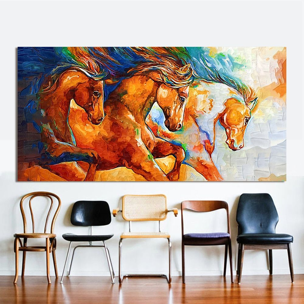 HDARTISAN Canvas Wall Art Three Horses Painting Animal Pictures For Living Room Home Decor No Frame
