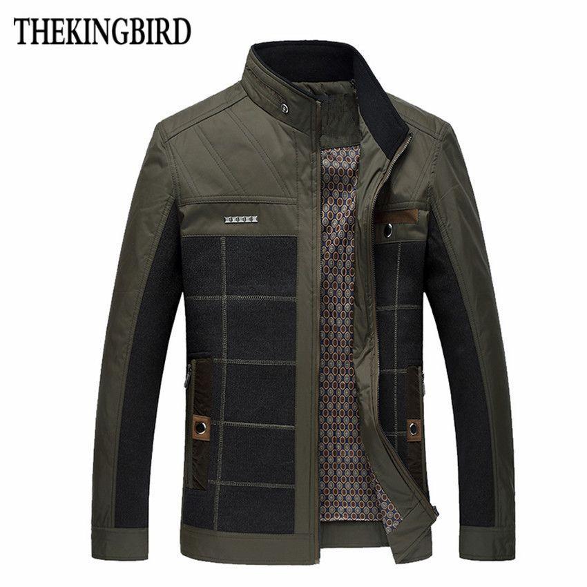 Khaki Spring Men's Thin Section Jacket Hot Thin Section Business Casual Jacket Outerwear Men 4XL Clothing Mens Shiny Jacket
