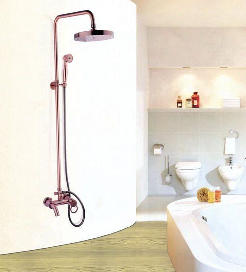 Antique rouge cuivre salle de bains mural pluie douche robinet ensemble baignoire mélangeur robinet Crg003