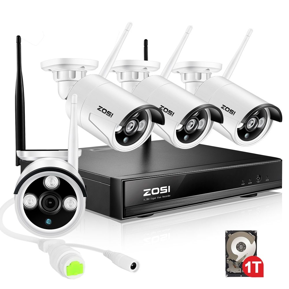 ZOSI 4CH Wireless CCTV System 960P HD NVR kit with 1TB Outdoor IR Night IP Camera wifi Camera Security System Surveillance Kits