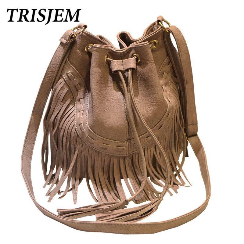 Vintage Quaste Eimer Tasche Frauen 2017 Mode Pu-leder Umhängetaschen Schwarz Braun Rosa Grau Weibliche Kordelzug Crossbody Tasche